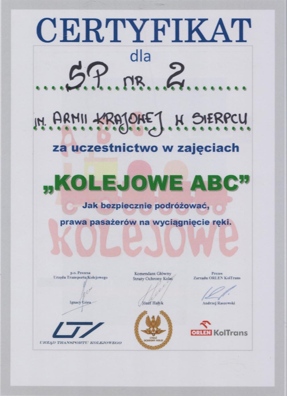 certyfikat Kolejowe ABC 001